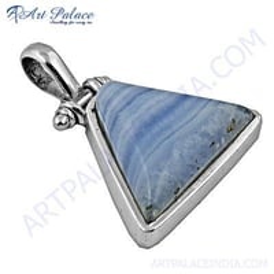 Elegant Blue Lace Agate Gemstone Silver Pendant