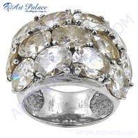 Indian Silver Cubic Zirconia Gemstone Ring