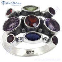 Latest Fashionable Multi Stone  Silver Gemstone Ring