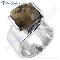 Sterling Silver Cool Ring Gemstone Smokey Quartz