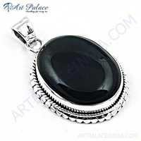 Nightlife Black Onyx Gemstone Silver Pendant