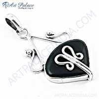 New Stylish Black Onyx Gemstone Silver Pendant