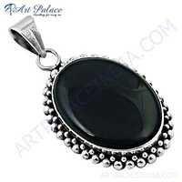 Royal Black Onyx Gemstone Silver Pendant