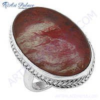 Royal Fashion Cherry Quartz  Silver Gemstone Ring