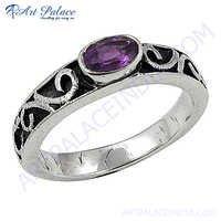 Gracious Fashion Amethyst Gemstone Silver Ring