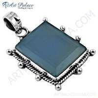 Traditional Blue Chalcedony Gemstone Silver Pendant