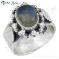 Antique Style Rainbow Moonstone Gemstone Silver Ring