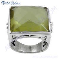 Excellent New Fashion  Lemon Quartz Gemstone Silver Ring