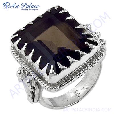 Traditional Smokey Quartz Gemstone Silver Ring