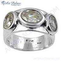 Fashionable Sparkling Cubic Zirconia Gemston Silver Ring
