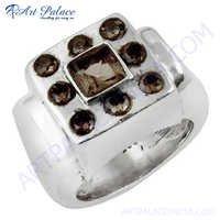 Festive Smokey Quartz Gemstone Silver Ring