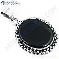 Victorian Designer Black Onyx Gemstone Silver Pendant