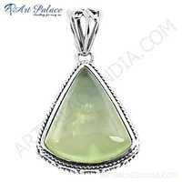 Celeb Style Prenite Gemstone Silver Pendant