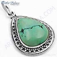 Vintage Designer Turquiose Gemstone SIlver Pendant