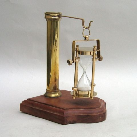 NAUTICAL BRASS HANGING HOURGLASS SAND TIMER WITH WOODEN BASE