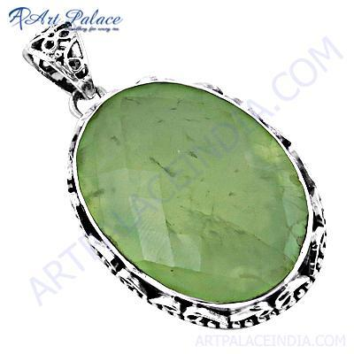 New Extra Shine Prenite Gemstone Silver Pendant