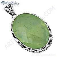 New Extra Shine Prenite Gemstone Silver Pendant