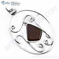 Hot ! Designer Red Onyx Gemstone Silver Pendant