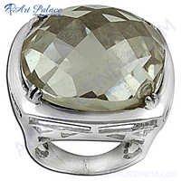 Fashionable Cushion Crystal Silver Gemstone Ring