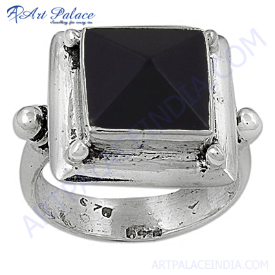 HOT Luxury Fashion Black Onyx Gemstone Silver Ring