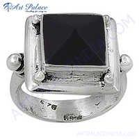 HOT Luxury Fashion Black Onyx Gemstone Silver Ring