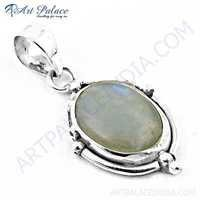 Ingenious Big Rainbow Moonstone  Gemstone Silver Pendant