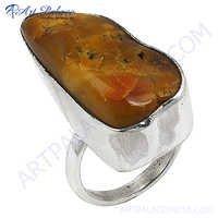 Fashion Amber  Gemstone  Silver Ring