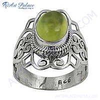 Excellent New Fashion Lemon Quartz Silver Gemstone Ring
