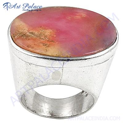 新式的时尚桃红色Opalite宝石银圆环