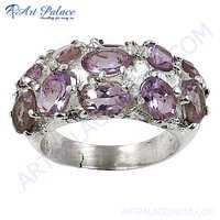 New Natural Gemstone Silver Ring With Amethyst