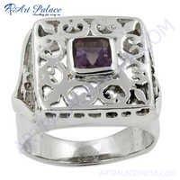 Traditional Amethyst Gemstone Silver Ring