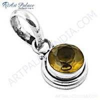 Charming Yellow Glass Gemstone Silver Pendant