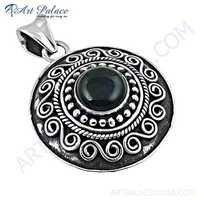 Ethnic Designer Black Onyx Gemstone Silver Pendant