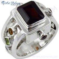 Latest Antique Style Multi Stone Gemstone Silver Ring