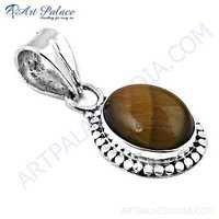 Designer Tiger Eye Gemstone Silver Pendant