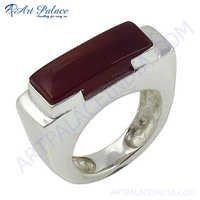 Bold & Beautiful Red Onyx Gemstone Silver Ring