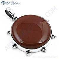 Luxurious Red Onyx Gemstone Silver Pendant
