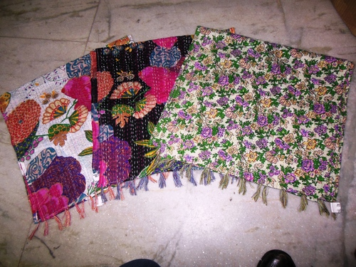 100% cotton printed with needle work stitching kantha