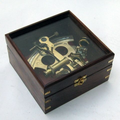 NAUTICAL BRASS GERMAN SEXTANT WIT GLASS BOX 7X7