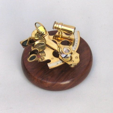 NAUTICAL BRASS SEXTANT ON WOODEN BASE  5