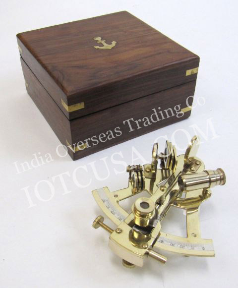 NAUTICAL BRASS SEXTANT WITH INLAY WOODEN BOX 5