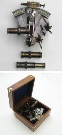 NAUTICAL ANTIQUE BRASS NAVY SEXTANT