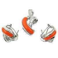 NEW Fashion Coral & Cubic Zirconia Silver Gemstone Earings & Pendant Set