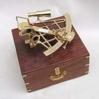 NAUTICAL BRASS SEXTANT WITH WOODEN BOX 10