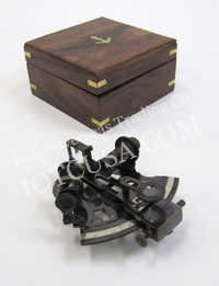NAUTICAL SOLID BRASS SEXTANT WITH INLAY WOODEN BOX  5X5.5