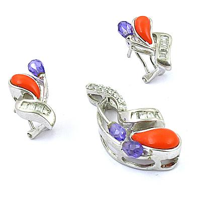 Special Design Amethyst & Coral Gemstone Silver Earing & Pendant Set