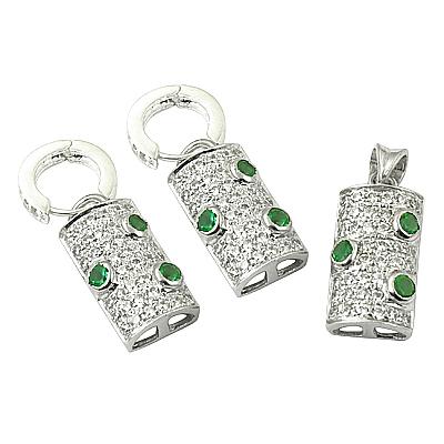 Hot! Dazzling Appetite & Cubic Zirconia Silver Gemstone Earings & Pendant Set