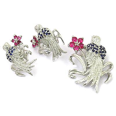 Valuable Iolite & pink Glass Gemstone Silver Earings & Pendant Set