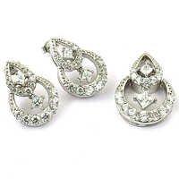 Leaf Style Cubic Zirconia Silver Gemstone Earings & Pendant Set