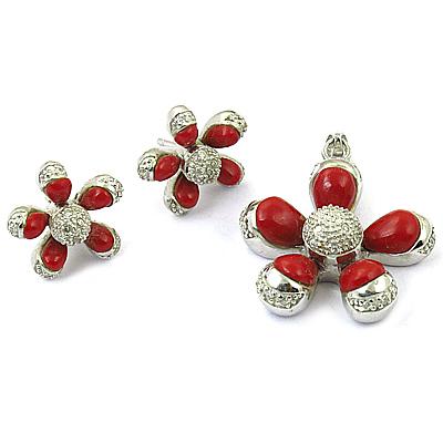 Flower Coral Silver Gemstone Earings & Pendant Set